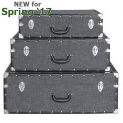 Set Of 3 Grey Brook Storage Suitcases