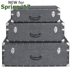 Set Of 3 Grey Brook Storage Suitcases