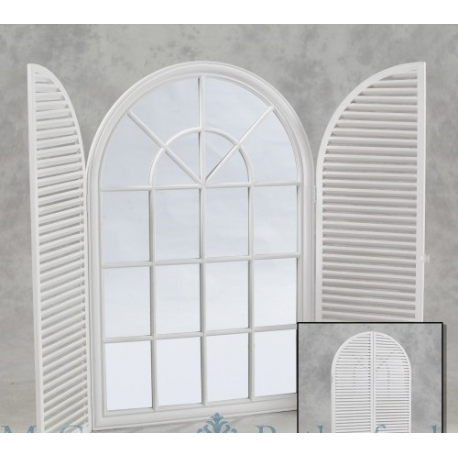 Large Arch Shutter Panel Mirror Distressed White