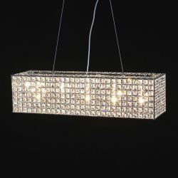 "Wide Chrome ""Glamour"" Chandelier (bulbs included)"