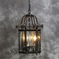 Antiqued Black And Chrome Traditional Lantern Ceiling Light