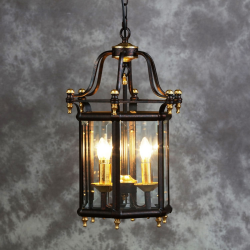Antiqued Black And Gold Traditional Lantern Ceiling Light
