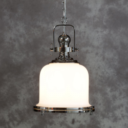 Industrial Opaque Glass Ceiling Lantern with Chrome Fittings