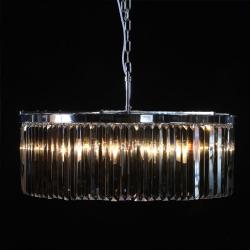 Extra Large Chrome Smoke Glass Prism Drop Round Cascade Chandelier
