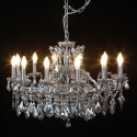 Large 12 Branch Chrome Shallow Chandelier with Mirrored Crystals