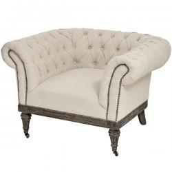 Natural Linen Chesterfield Chair