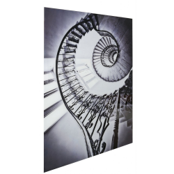 Black & White Spiral Staircase Tempered Glass Art Print