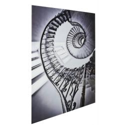 Black & White Spiral Staircase Tempered Glass Art Print