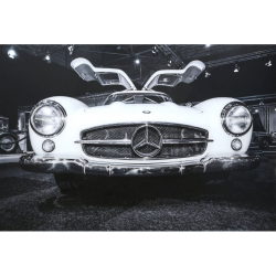 Mercedes-Benz Tempered Glass Art Print in black & white (120x80)