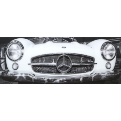 Mercedes-Benz Tempered Glass Art Print in black& white (160x60)