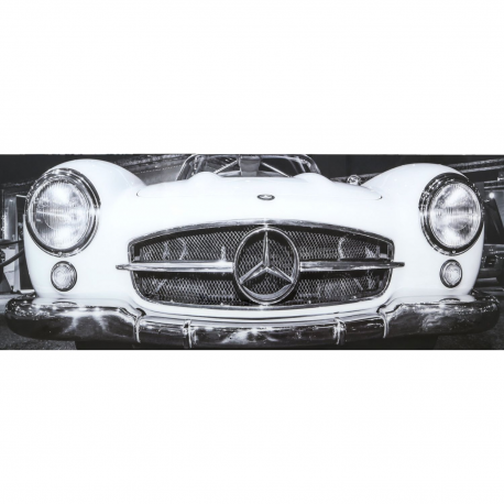 Mercedes benz tempered glass art print in black white 160x60 for Mercedes benz wall posters