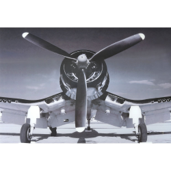 Black And White Corsair Plane Tempered Glass Art Print