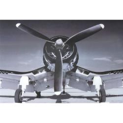 Black And White Corsair Plane Tempered Glass Art Print