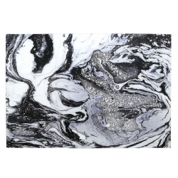 Black & White Marble Style Tempered Glass Art Print