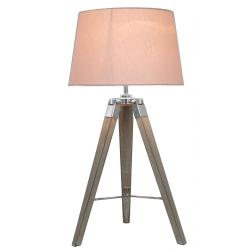 Natural Grey Hollywood Table Lamp With Pink Shade