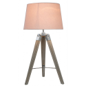 Natural Grey Hollywood Table Lamp With Pink Shade