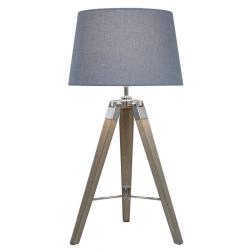 Natural Grey Hollywood Table Lamp With Blue Shade