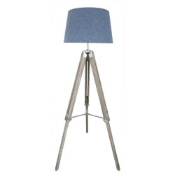 Natural Grey Hollywood Floor Lamp with Blue Linen Shade
