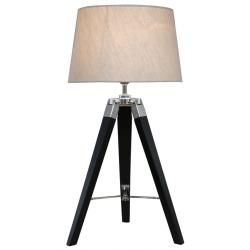 Black Hollywood Table Lamp With Natural Shade