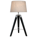 Black Hollywood Table Lamp With Natural Shade