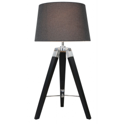 Black Hollywood Table Lamp With Charcoal Shade