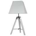 White Hollywood Table Lamp with Square White Linen Shade
