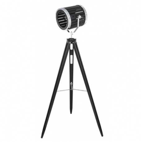 Black Wood Hollywood Directors Tripod Floor Lamp