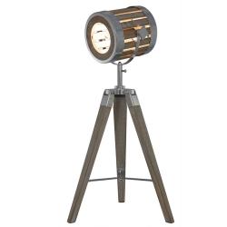 Grey Wood Hollywood Directors Tripod Table Lamp