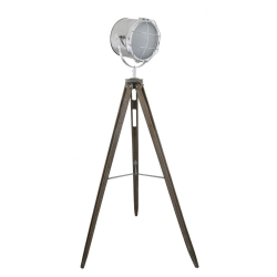 Grey Hollywood Directors Style Wooden Tripod Table Lamp