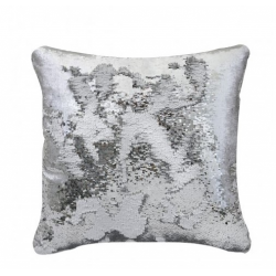 Silver & White Two Tone Sequin Siren Cushion