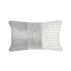 Ivory and Grey Cushion with Silver Stripe