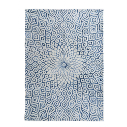 Large Denim Blue Woollen Bohemian Rug