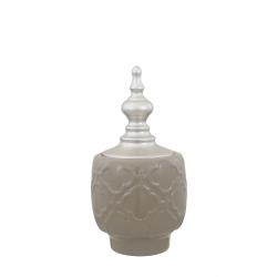 Large Shiny Taupe & Silver Oriental Ceramic Apothecary Jar