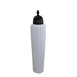 Large Tall Shiny White & Black Oriental Ceramic Apothecary Jar