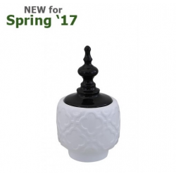 Medium Shiny White & Black Oriental Ceramic Apothecary Jar