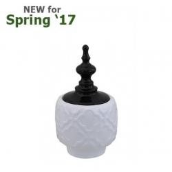 Medium Shiny White & Black Oriental Ceramic Apothecary Jar