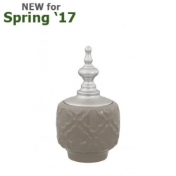 Medium Shiny Taupe & Silver Oriental Ceramic Apothecary Jar