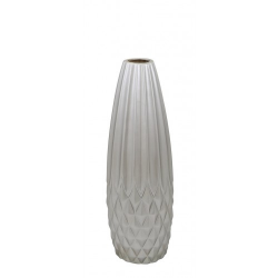 Medium Shiny Silver Ceramic Oriental Diamond Cut Vase