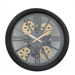 Black Gears Style Skeleton Wall Clock