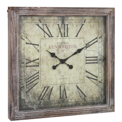 Antique Brown Fir Wood Square Wall Clock
