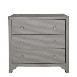 Light Taupe Faux Snakeskin Weave Leather 3 Drawer Cabinet