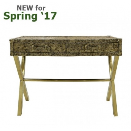 Antique Gold 2 Drawer Faux Snake Leather Console Table
