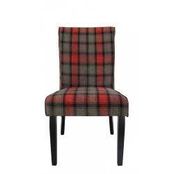 Taupe and Red Tartan Highlander Dining Chair