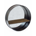 Camden Large Metal with Wooden Shelf Round Wall Mirror