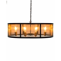 Large Round Black Iron Industrial Chandelier