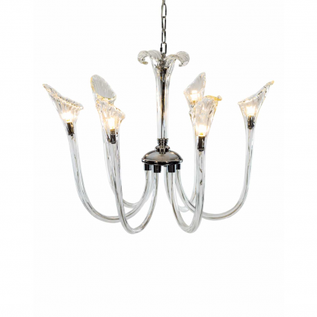 Murano Style Glass 6 Branch Chandelier