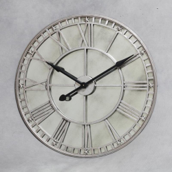 London Large Round Silver Wall Clock With Antiqued Mirror Glass Face