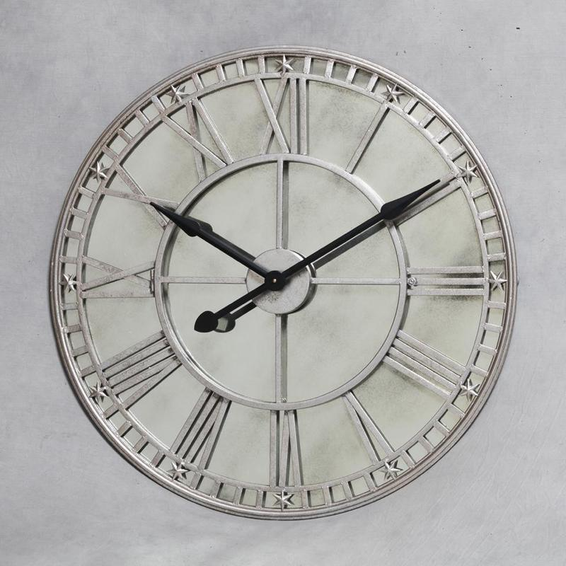 London Large Round Silver Wall Clock With Antiqued Mirror