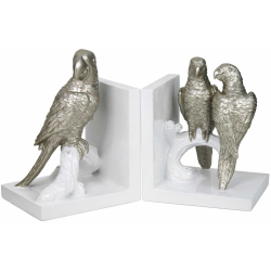 Champagne And White Love Parrots Bookend Set