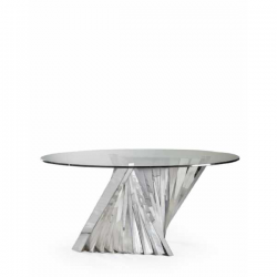 Round Stainless Steel and Glass Turin Dining Table